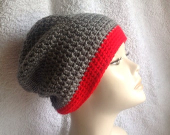 Crochet Grey and Red Slouchie/Beanie hat
