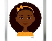 Brown-eyed girl in orange with afro - Children's art & decor