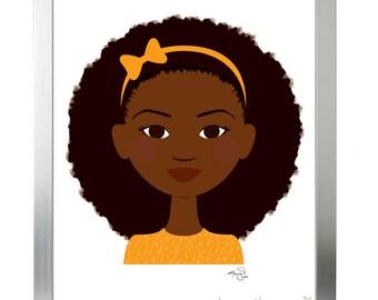 Brown-eyed girl in orange with afro - Children's art & decor