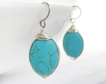 Turquoise Earrings - blue oval magnesite drop, December birthstone, wire wrapped gemstone available in silver, gold, and bronze