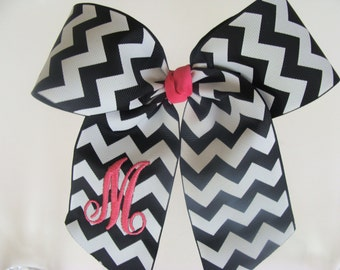 Large Initial Hair Bow Monogrammed Chevron Cheer Personalized Monogram Letter Custom Boutique Girls Hairbow Gift Bows