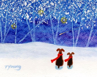 Airedale Welsh Terrier Dog folk art print of Todd Young painting WINTER BLUE