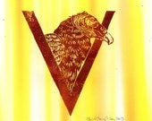 Vulture V Monogram Linocut - Alphabet Typographic Lino Block Print with Animal, Bird, V is for Vulture