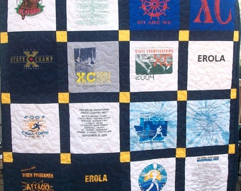 T Shirt Quilt Memory Quilt Custom Order Quilt Twin Size - Using Your 20 Shirts