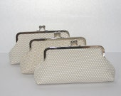 Neutral  Bridesmaid Clutch, Bridesmaid Gifts, Clutches for your Wedding Party, Personalized Bridesmaid Clutch Set of 3 -You choose fabrics