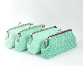 Mint wedding, bridal clutch, bridesmaids gift idea, personalized wedding gift, mint green wedding - you choose the fabrics