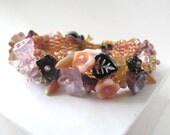 Beadwoven Flower Garden Bracelet with Glass Flower Beads