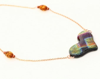 Heart Shaped Iridescent Dichroic Fused Glass Necklace Mixed Media Rose Copper Chain and Murano Glass Beads