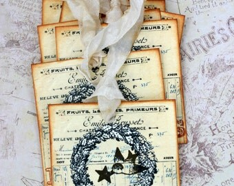 French Christmas Gift Tags Distressed Hand Stamped