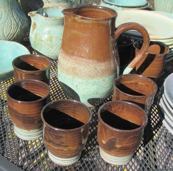 Pitcher set - Large pitcher with 5 Cups - Visit Shop for more Handmade Pottery