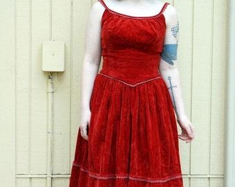 Vintage 40s 50s crushed velvet RED holiday dress