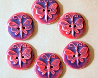 6 Handmade Ceramic Buttons - Butterfly Buttons in Fuchsia Purple - Stoneware buttons