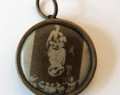 Antique French 1930s Madonna and Child Angels Double Sided Religious Medal Pendant Charm