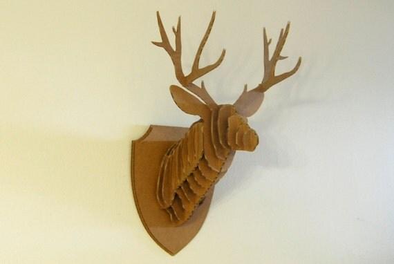 Art culos similares a medio 20 cabeza de ciervo cart n vegano taxidermia en etsy - Cabeza ciervo carton ...