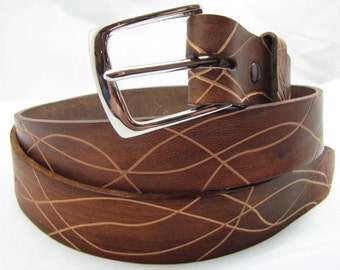 Leather Belt - Hand Tooled -The Round Up