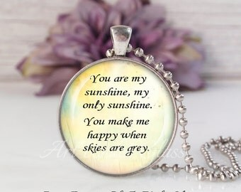 Round LRG Glass Bubble Pendant Necklace- You Are My Sunshine My Only Sunshine Song Lyrics