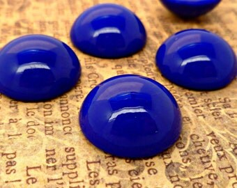 Four Vintage Glass Cabochons - 18mm Navy Blue Cabs (50-18B-4)