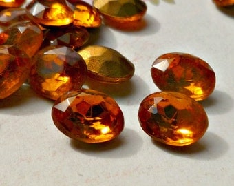 12 Vintage Glass Jewels 10x8mm Topaz Ovals (49-12B-12)