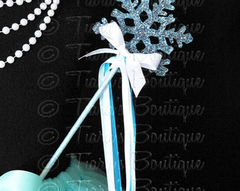 Blue and White Snowflake Wand