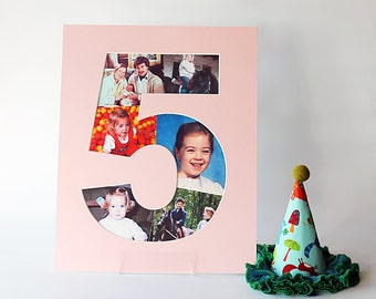 Birthday Number Mat - Photo Collage - Table Numbers - Frame Ready - Anniversary - Custom Cut