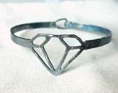 Handmade Oxidized Sterling SIlver Diamond Outline Bracelet