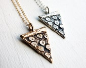 Hand Carved Pepperoni Pizza Slice Necklace - cast in bronze and sterling silver