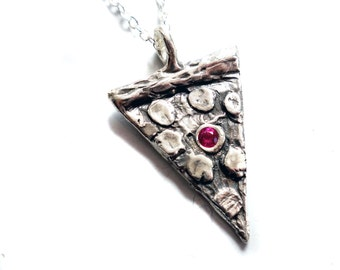 PIZZA PIZZA - sterling silver pizza pendant with flush set imitation ruby