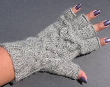 Cable Braided Fingerless Gloves, Wool Fingerless Gloves, Half Finger Cabled Gloves, Womens Knitted Gloves
