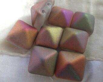Matte Crystal Vitex Bead Studs Two Holes 12mm 6 Pcs
