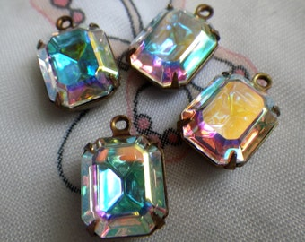 Swarovski Crystal AB 12x10mm Octagon Brass Ox Glass Drops 4 Pcs