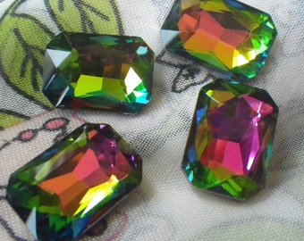 Vitrail 18X13mm Octagon Glass Gems Foiled 4 Pcs