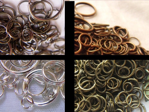 Pick Your Plating Jump Ring Mix 7-15mm Red Copper, Gunmetal, Silver or Brass Ox 1 ounce about 200 Pcs