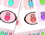 Buy 1 Get 1 FREE Owl Boutique Frames Tags Mosaic Digital Collage Sheet Set INSTANT Download