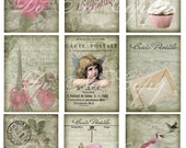 Buy 1 Get 1 FREE Valentine Carte Postale ACEO No.3 - Paris Shabby - French Amour Digital Collage - Antique Images - INSTANT Download