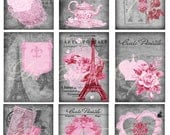Buy 1 Get 1 FREE Rose Paris No.5 - Carte Postale ACEO - French Shabby - Digital Collage - Antique Images - INSTANT Download