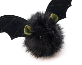 Stuffed Animal Stuffed Bat Cute Plush Toy Bat Kawaii Plushie Fang the Vampire Bat Black Fluffy Halloween Faux Fur Toy Small 4x5 Inches