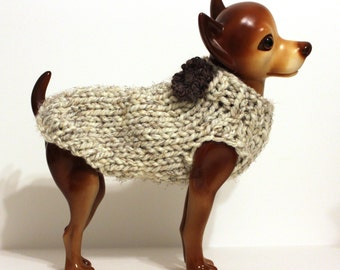 Wheat Dog Sweater with Flower Hand Knit
