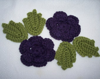 wool crochet roses with leaves to applique or felt  --  1277