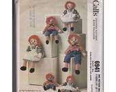 Vintage Sewing Pattern 1963 McCalls 6941 Raggedy Ann Andy Dolls Three Sizes Plush