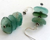 Roman Glass Earrings Blue Green Turquoise Circle Disc Dangle from shards of Ancient glass found in Israe l by FiveMuses