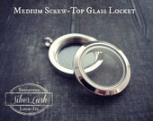 Stainless Steel Screw Top Glass Locket - 25mm Medium Smooth Locket Only - SilverLush Signature Lock-Its
