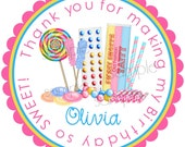 Lollipop Stickers, Old Fashion Sweet Shoppe, Personalized stickers, labels, favor, Birthday, party, candy, set of 12