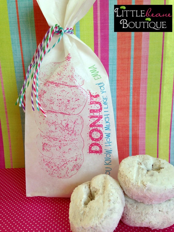 Donut Bags, Donut Birthday party, Favor bags, Powdered Donuts ...