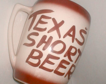 Texas Short Beer Mug Vintage Kitsch Big Brew Big Gulp Huge Handle Jug 12 Cup Lone Star  Souvenir Ceramic Pottery Jug Drinking Cup or Vase