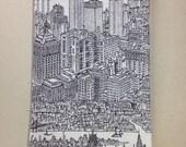 NYC, New York City keepsake decorative tea towel, bar towel, dish towel, skyscraper black & white print, housewarming gift, Holiday gift