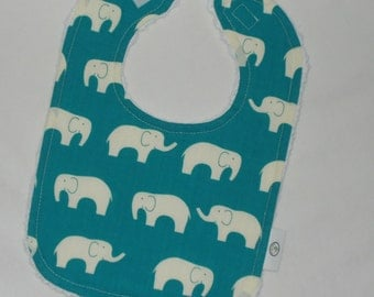 Organic Turquoise Ellie the Elephant and Chenille Bib