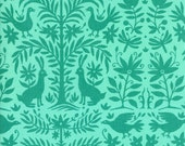 FABRIC SALE, Moda Sale,  Folklore Otomi Floral Tonal Peacock by Lily Ashbury, 1 Yard