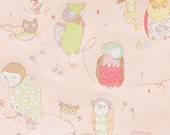 FABRIC SALE, Fabric, Alexander Henry Fabric, Owl Fabric, Spotted Owl, Pale Pink, Fabric by the Yard, 1 Yard
