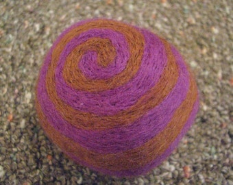 One multi-colored felted pin-cushion, Brown and Purple
