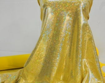 Shattered Glass Hologram Spandex Yellow Fabric ...dance...cheer bows...gymnastics...costume..crafts...pageant